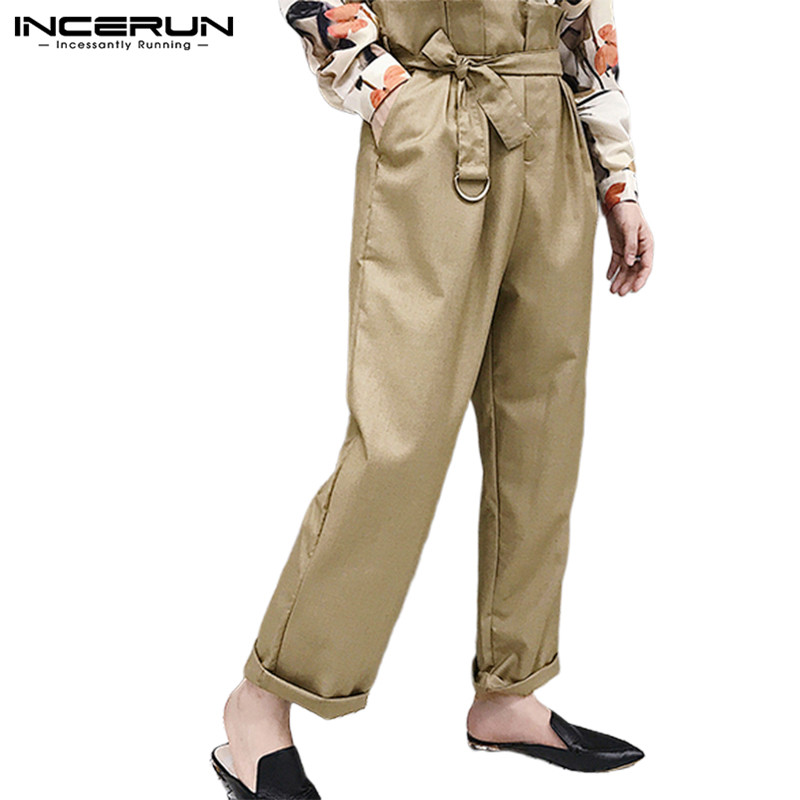 INCERUN Men Pants High Waist With Belt Streetwear Joggers Wide Leg Casual Pants 2019 Solid Vintage Trousers Men Pantalon Hombre