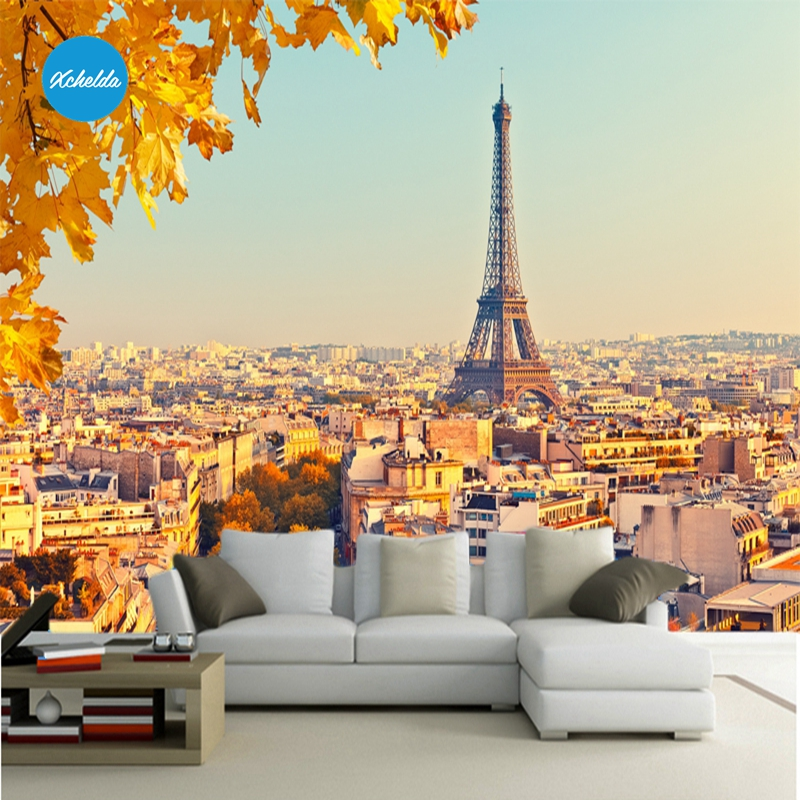 XCHELDA Custom 3D Wallpaper Design Autumn In Paris Photo Kitchen Bedroom Living Room Wall Murals Papel De Parede Para Quarto beibehang beautiful rose sea living room 3d flooring tiles papel de parede para quarto photo wall mural wallpaper roll walls 3d