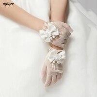 new flower girl wedding gloves elastic bow hollow out girl gloves
