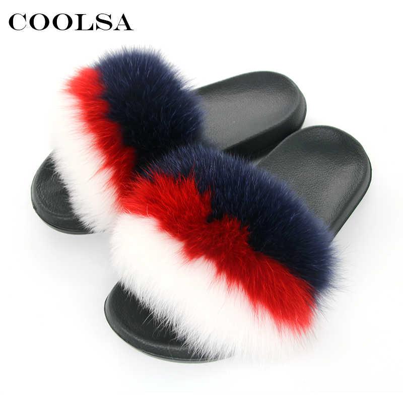 Coolsa Sıcak Yaz Kadın kürk terlik Gerçek Tilki kürk Slaytlar Tasarımcı Düz Kabarık Peluş Ayakkabı Kadın Odası Terlik Sevimli Kürklü Pantufa