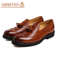 GRIMENTIN men loafers leather slip on tassel pointed toe black tan brand designer dress shoes