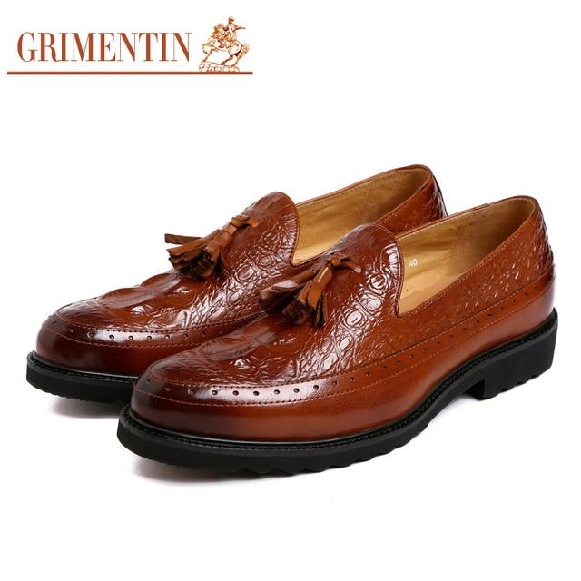 Grimentin Men Loafers Leather Slip On Tassel Pointed Toe Black Tan
