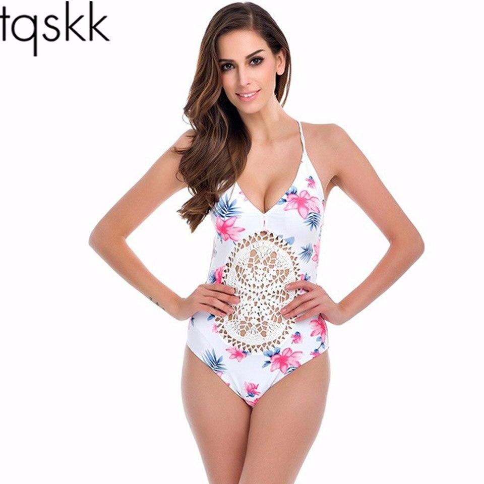 TQSKK Sexy Um Pedaço Swimsuit 2016 Verão Natação Bodysuit Malha Alta Corte Crochet Monokini Swimsuit Swimwear Mulheres Banhando Terno