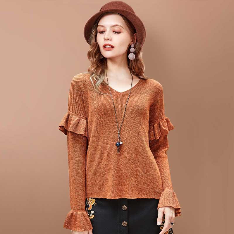 ARTKA Ruffle Flare Sleeve Knitted Sweater YB10880Q