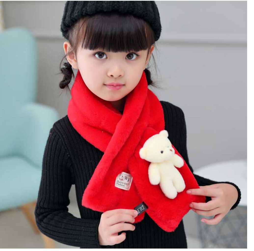 Intersection Shape Ring Warm Winter Childrens Scarf Cute 3D Cartoon Bear Imitation Rabbit Fur Collar Echarpe Girl Boys Scarves