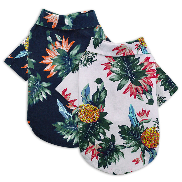 Dog Shirts Cotton Spring Summer Pet Clothes Thin Breathable Beach Hawaiian T Shirt For Small Dogs Chihuahua Poodle Cats Vests