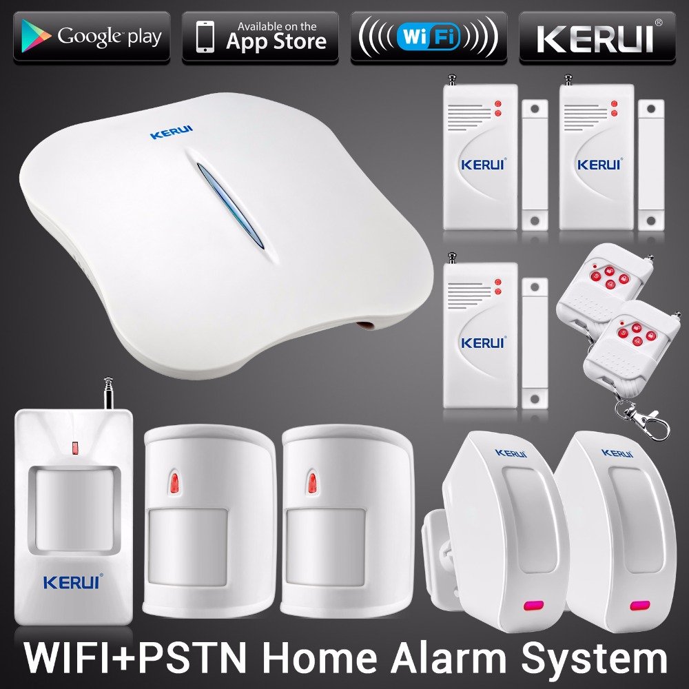 2016 New KERUI W1 WIFI Alarm System Home Burglar Security PSTN Intelligent Android IOS APP Control Wireless PIR Detector w1 wifi pstn burglar alarm for home villa super safe anti theft pet friendly pir alarm system