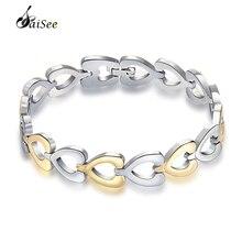 hot deal buy saisee 316l stainless steel bracelets men heart chain link bracelets cuff wristband bracelets bangles homme fashion jewelry