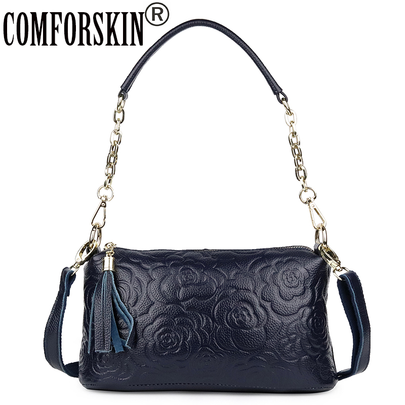 COMFORSKIN Women Handbags European And American Luxurious Genuine Leather Rose Flower Travelling Shoulder Messenger Bags 2019