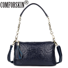 COMFORSKIN Women Handbags European And American Luxurious Genuine Leather Rose Flower Travelling Shoulder Messenger Bags 2019