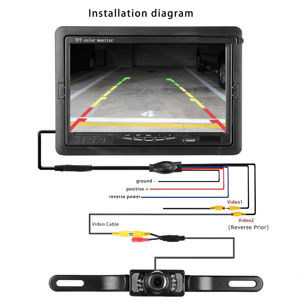 Podofo Car Rear View Camera And Monitor Kit Waterproof License Plate Tft Lcd Color Wiring Diagram Backup Night Vision 7 For Vehicle Truck