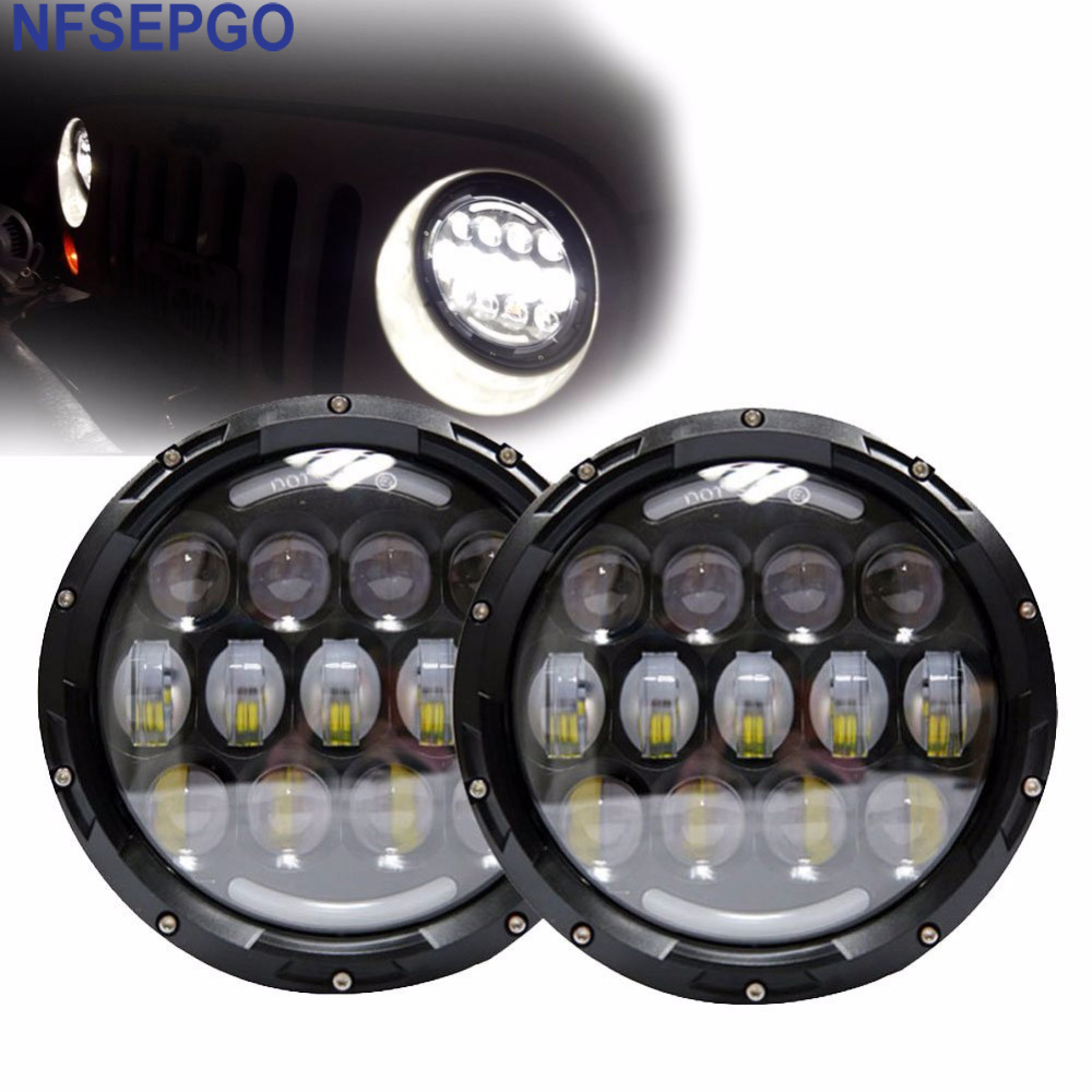 2pcs 105W Headlamp for Jeep CJ Wrangler JK 7 inch Led Driving Light H4 H13 Headlights