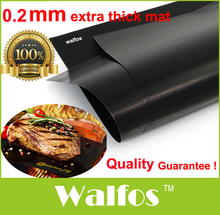 WALFOS teflon Extra thick heat resistant teflon BBQ Grill Mat Reusable non-stick barbecue grilling sheet liner bbq mat tool