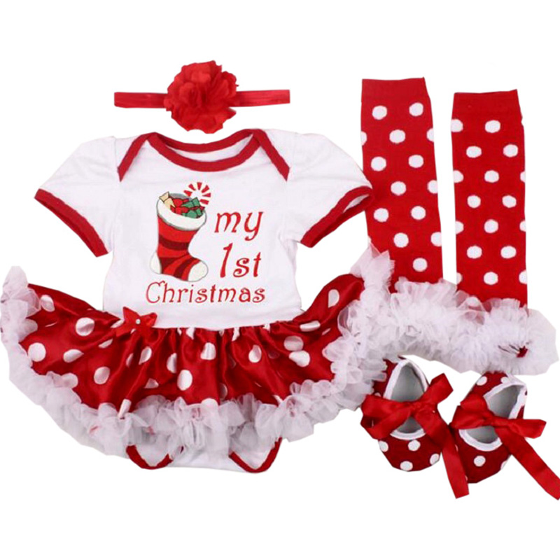2017 Baby Newborn Clothes Set 1st Christmas Girl Suit Romper Tutu Dress Bebe Girl 100%Cotton Children Clothing Set High Quality 4pcs set baby girls clothing newborn baby clothes christmas infant jumpsuit clothes xmas bebe suits toddler romper tutu dresses