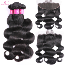 Skønhed Grace Hair Brazilian Body Wave Human Hair Weave 3 Bundler Med Frontal Non Remy Lace Frontal Closure With Bundles