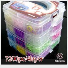 Давайте сделаем 7200 шт./4 Слои резинки для Браслеты высокое качество Силиконовые Loom Bands коробка Семья заправки резиновые сумасшедший дети подарок DIY Бусины и бисер