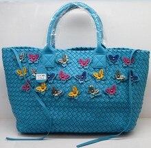 Envío gratis nueva moda multi color de la mariposa nudo de asas de cuero tejido bolsos hermosos bolsos de mujer tejen cabat