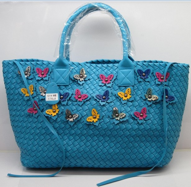 Free shipping new fashion multi color butterfly knot woven leather tote bags bea