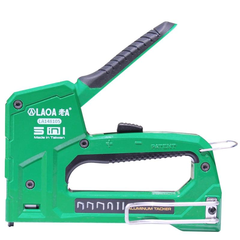LAOA Multifunctio Manual Nail Gun Upholstery Framing Rivet Staple Guns Kit For Wood Door Nailers Rivet Tool Household Nail Gun(China)