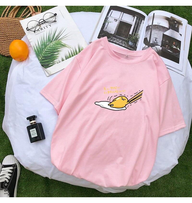 New T Shirt Women Kawaii Cartoon Gudetama Print Tops Tee Harajuku Summer Short Sleeve Casual Loose Korean Clothes Camiseta Mujer (12)