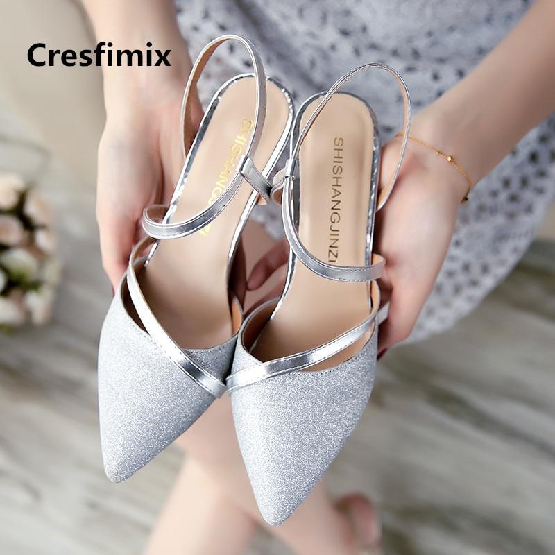 Cresfimix Vrouwen Hoge Hakken Women Fashion Pointed Toe Silver High Heel Shoes Lady Casual Sweet Golden High Heel Pumps C3288