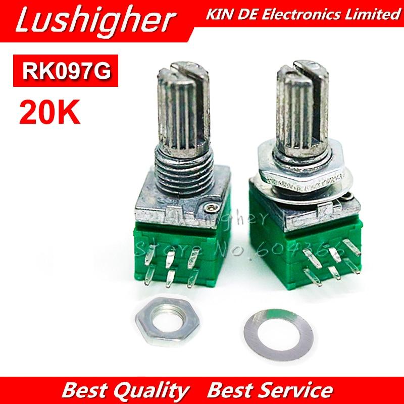5 шт. RK097G 20K 6pin вал 15 мм один связанный потенциометр B20K с переключателем аудио усилитель мощности, уплотнительный потенциометр