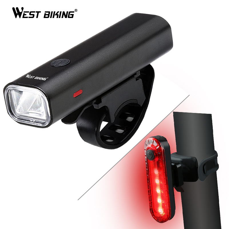 WEST BIKING Bike Light Set Waterproof Flashlight Headlight With Rear Warming Taillight For Cycling USB Bicycle Front Lamp