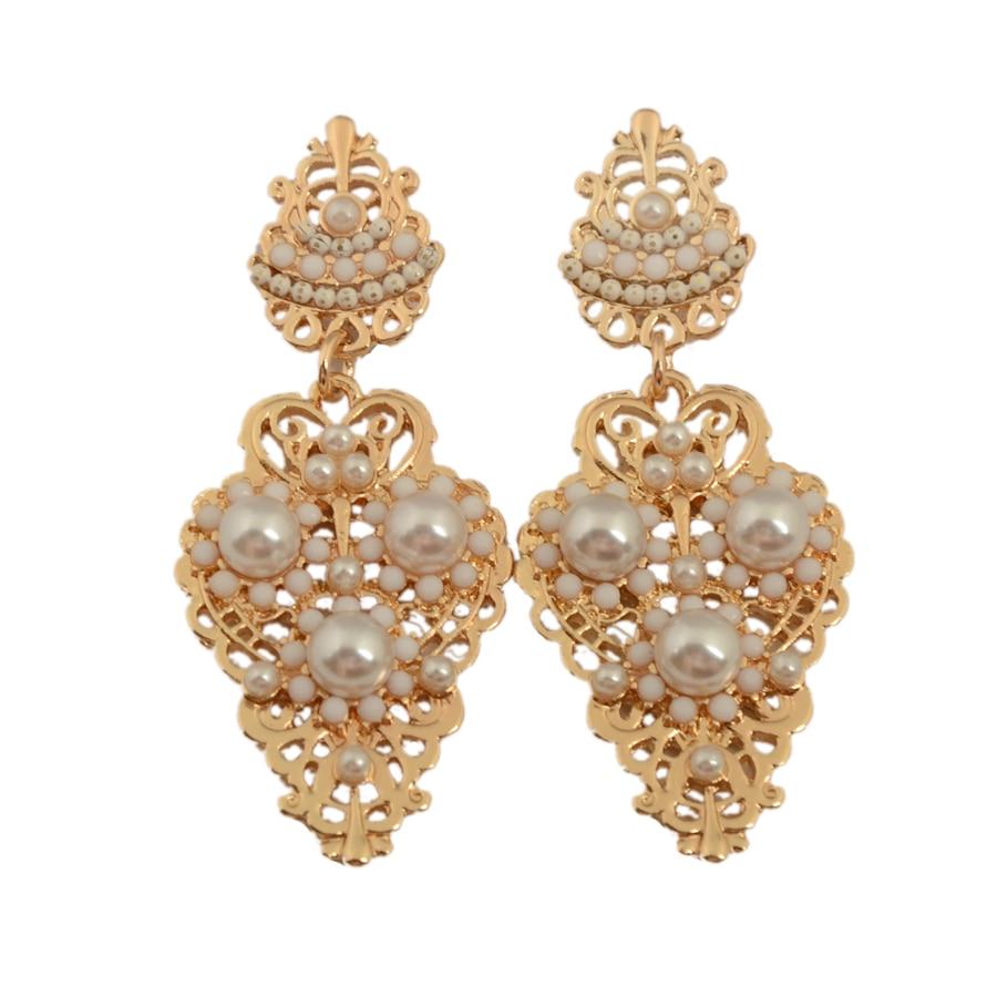 New Fashion Beautiful Rhinestone Temperament Type Pearl Stud Earrings for Women Jewelry Court Wind Luxury Socialite Set Auger