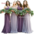 Romantic Tulle Long Bridesmaid Dresses Purple/Pink Wedding Guest Dresses PlusSize Wedding Bridesmaid Dresses