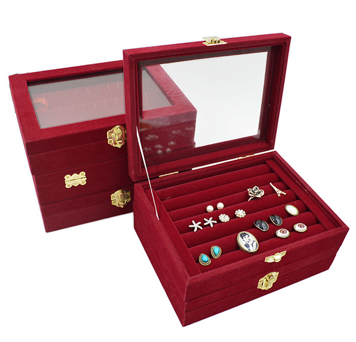 2016 Hot Sale High-end  Red Ring Jewelry Box Glass Lid Jewelry Box Stud Earrings Dustproof Plug Jewelry Box Free Delivery