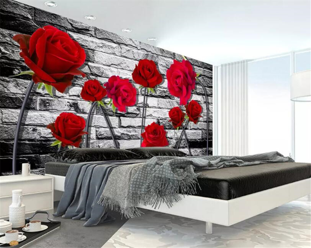 beibehang Custom wallpaper 3D red rose Brick wall TV background wall 3d living room bedroom backdrop murals 3d wallpaper tapety in Wallpapers from Home Improvement