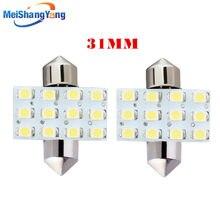 2pcs 31mm 12 SMD led Pure White Dome Festoon 12 LED Interior Car Light Lamp Bulb 12V Interior Lights C5W Led