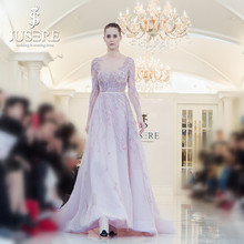 Jusere 2018 Couture Handmade Beading Evening Dresses V Neck Illusion Bodice Stock Formal Gowns Fast Shipping