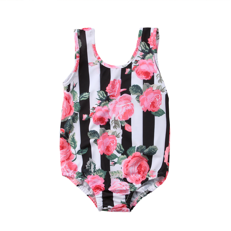 One-Piece Swimwear Bikini Beachwear Bathing-Suit Swimming-Costume Children Print Girls
