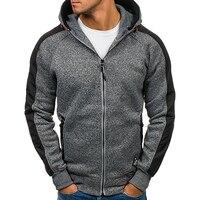 Men Hoodies Sudaderas Hombre Hip Hop Mens Zipper Hoodie Sweatshirt Brand Solid Hoodies Slim Fit Men