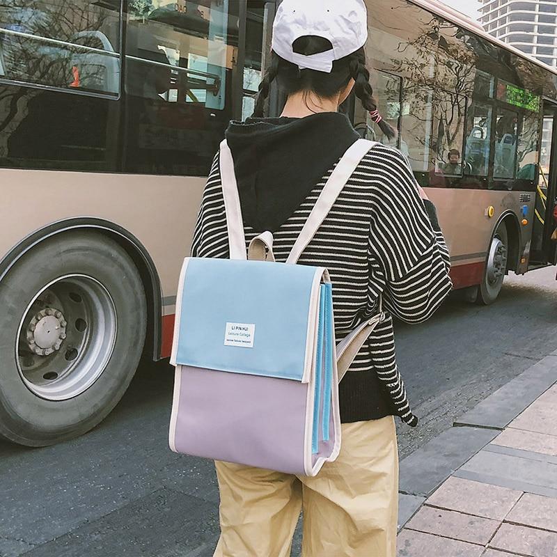 Backpack women 2018 Korea Harajuku style backpack simple square Japanese junior high school bag soft sister