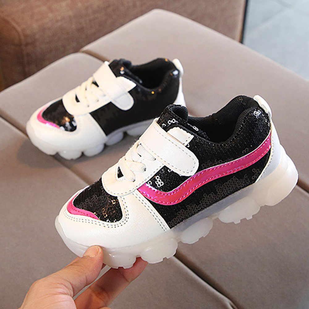 เด็กทารกเด็กหญิง Sequins Lightning LED Luminous กีฬารองเท้ารองเท้าผ้าใบเด็ก led รองเท้า usb 7 ขนาดรองเท้าสำหรับเด็กทารก