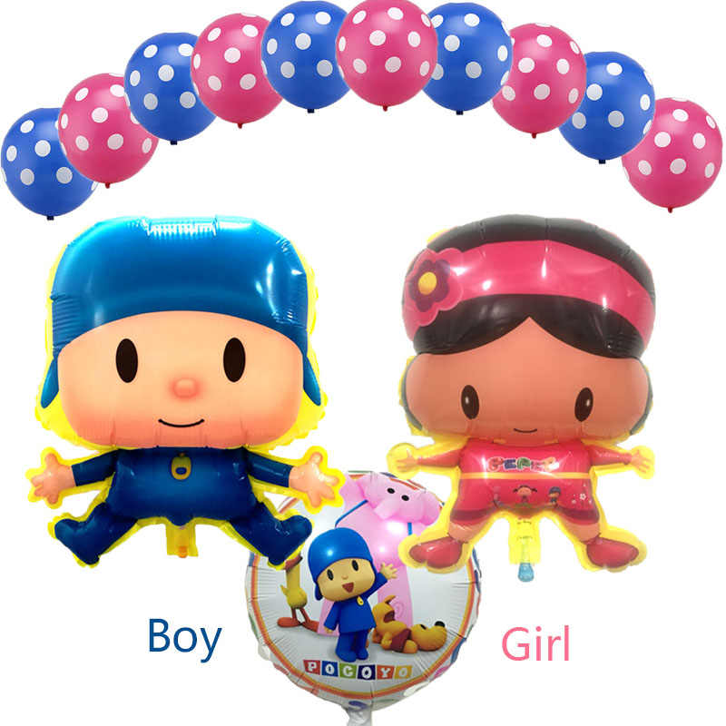 13 pcs Balões Pocoyo Menino Menina Festa de Aniversário Feliz dia das Crianças do Menino & Da Menina Dos Desenhos Animados Pocoyo Balão de Ar balão de Hélio balão Brinquedos