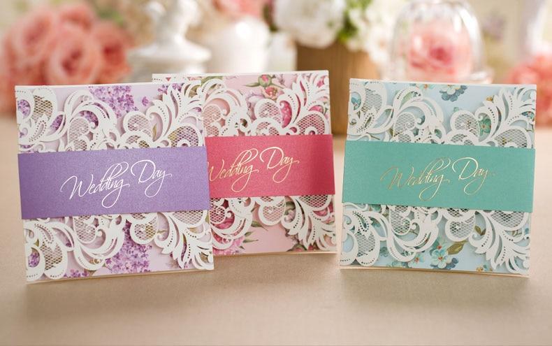 Aliexpress.com : Luxus Flora Hochzeitseinladungen Lila Rosa Grün Laser Cut  Spitze Hochzeit Einladungskarten Mit Freien Druck Von Verlässlichen Pink ...