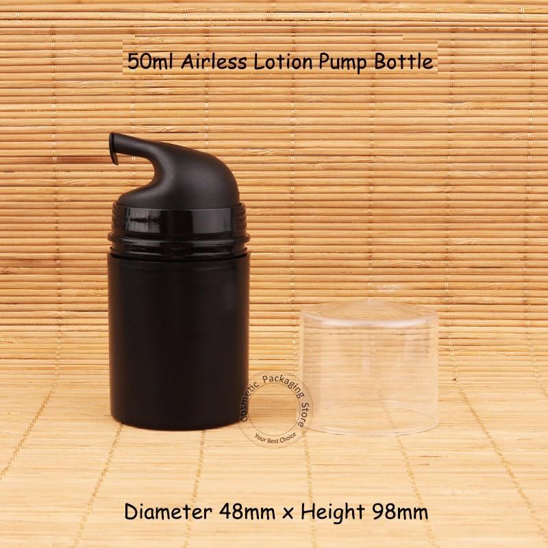 30pcs Lot New Black Plastic 50ml Airless Pump Lotion Elmusion Bottle 5 3OZ Small Packaging Women