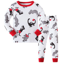 Retail kids pajamas set 100% cotton children sleepwear unisex boys Cartoon nightgown, baby pjs 3T-8T