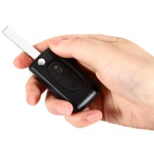 E13 Car Remote Key Holder Case Folding Shell 2-button Flip Protecting Texture Cover with Rubber Material Suitable for Peugeot