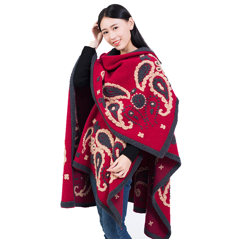Women Winter Ponchos and Capes Oversized Thicken Wool Cardigans Coat Embroidery Warm Ponchos Long Scarf Indie Folk style Cloak