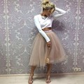 Champagne Tutu Skirt Band Zipper Waistline A Line Tee Length Midi Skirt Modest Women Skirts