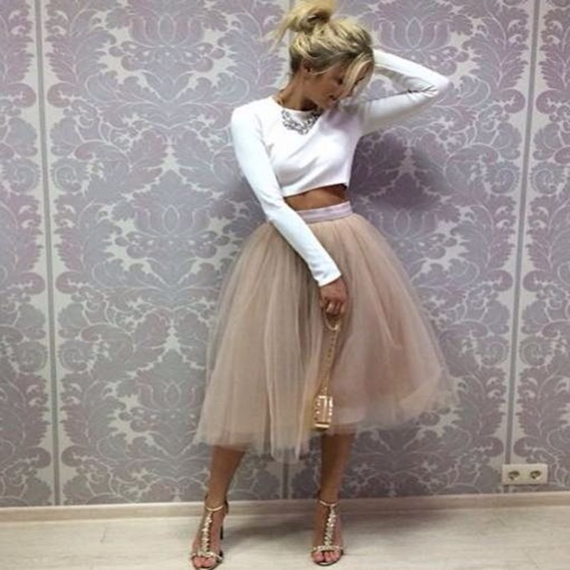 hot-selling professional classic style attractivedesigns US $27.0 10% OFF Champagne Tutu Skirt Band Zipper Waistline A Line Tee  Length Midi Skirt Modest Women Skirts-in Skirts from Women's Clothing on ...