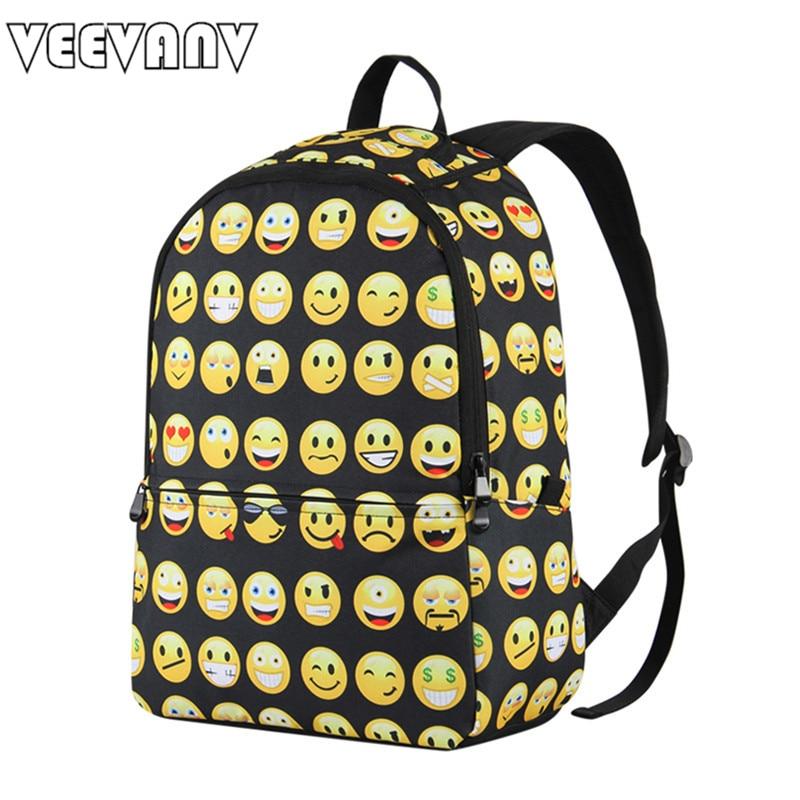 VEEVANV Brands Printing Backpacks Designer Smiley School Backpack Casual Laptop Mens Female Travel Bags