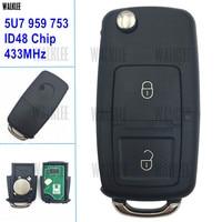 WALKLEE Remote Key suit for VW/VOLKSWAGEN GOL Saveiro G5 HLO 5U7 959 753 5FA 009 628 00 for Hella 433 MHz