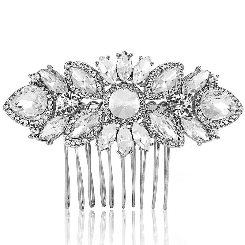 Shiny Rhinestone Hair Combs Jewelry For Women Bride