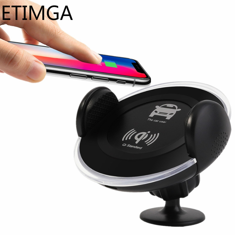 Qi Wireless Car Charger for iPhone X 8 XS Max XR Samsung S8 S9 Note 9 8 Quick Charging Pad Car Suction Mount Stand Holder