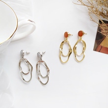 Trendy Jewelry Fashion Earrings Round Red Grey Post With Irregular Metal Dangle For Lady Gift